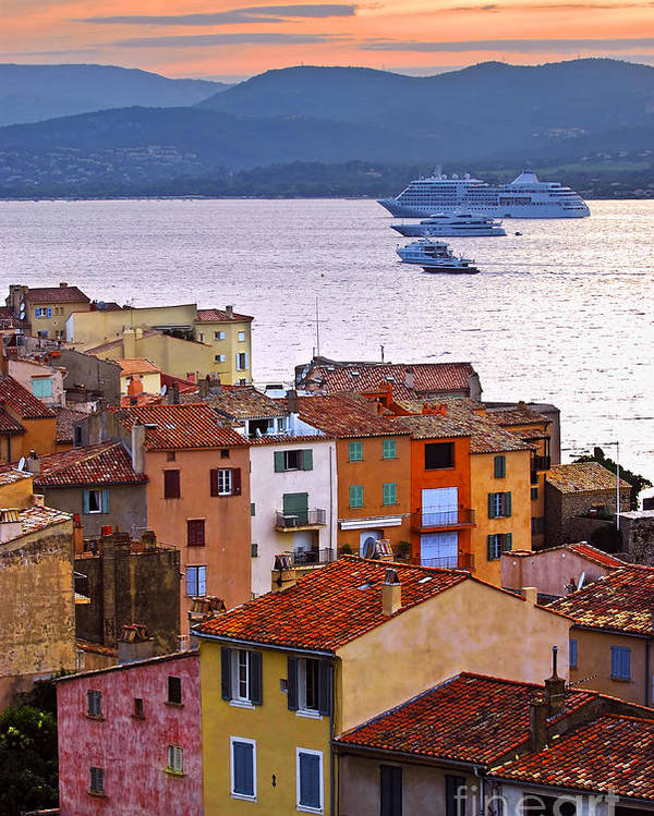 Tropez Poster featuring the photograph Cruise Ships At St.tropez by Elena Elisseeva
