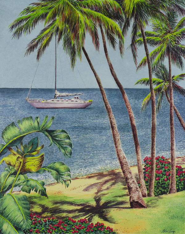 Peter Wong Art Poster featuring the painting Cruising In Paradise 2 by Peter Wong