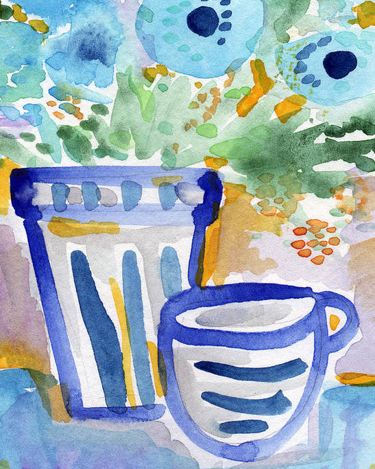 Blue And White Poster featuring the painting Cups And Flowers- Watercolor Floral Painting by Linda Woods