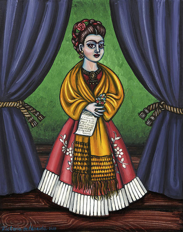 Folk Art Poster featuring the painting Curtains For Frida by Victoria De Almeida