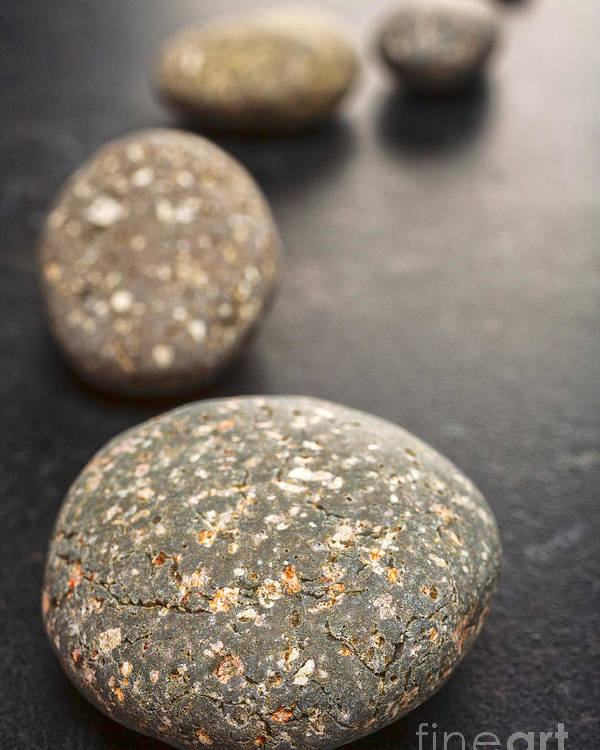 Stone Poster featuring the photograph Curving Line Of Speckled Grey Pebbles On Dark Background by Colin and Linda McKie