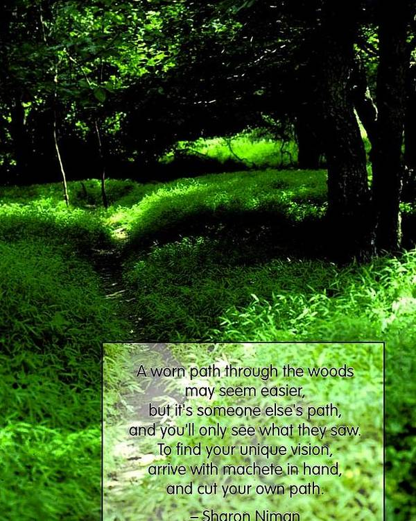 Quotation Poster featuring the photograph Cut Your Own Path by Mike Flynn