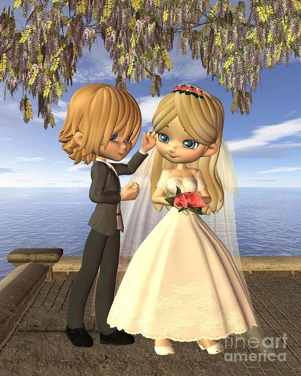 Toon Poster featuring the digital art Cute Toon Wedding Couple On A Seaside Balcony by Fairy Fantasies