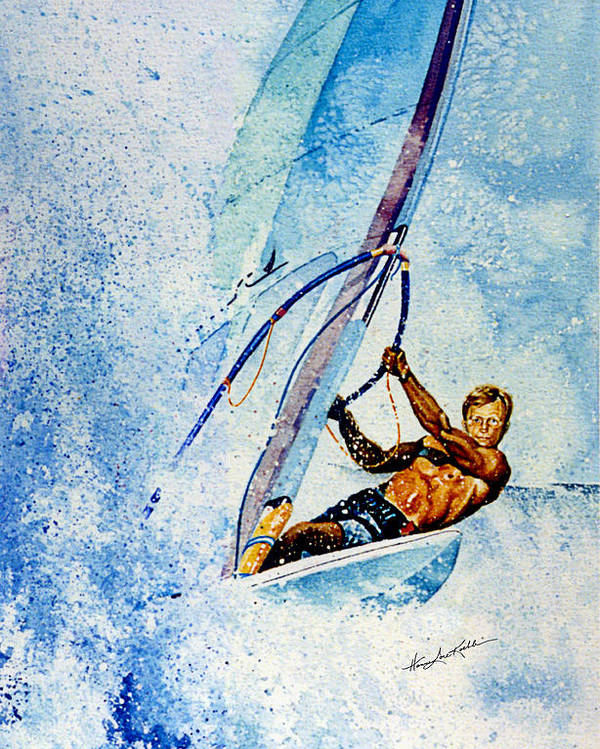 Surfing Poster featuring the painting Cutting The Surf by Hanne Lore Koehler