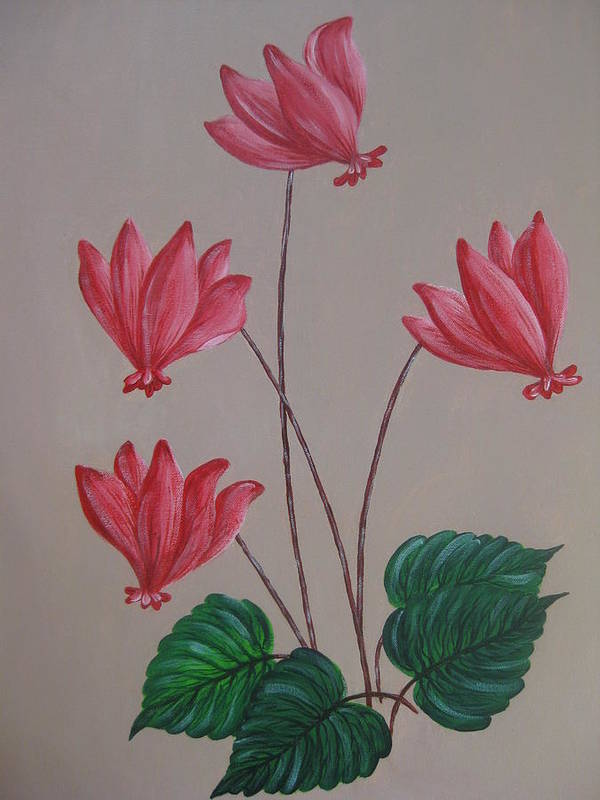 Floral Poster featuring the painting Cyclamen by Swathi Kurunji