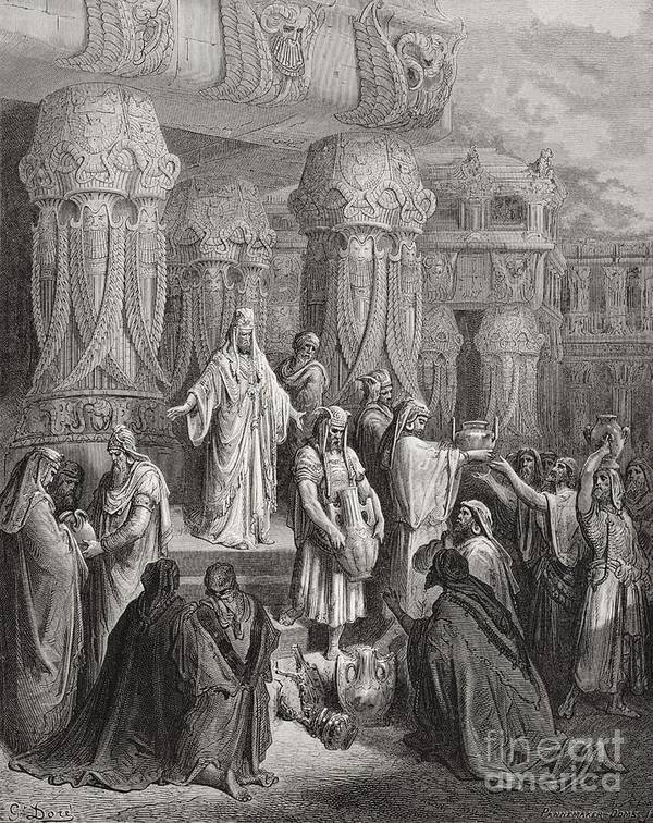 King Of The Persians Poster featuring the painting Cyrus Restoring The Vessels Of The Temple by Gustave Dore