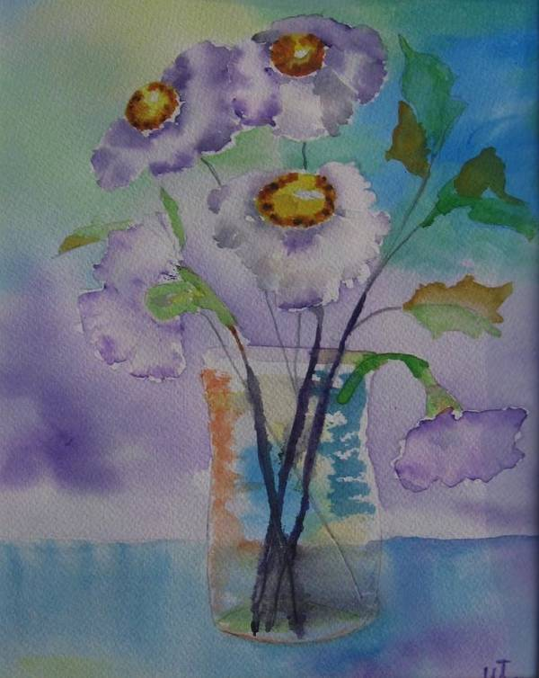 Floral Watercolor Poster featuring the painting Daisy by Warren Thompson