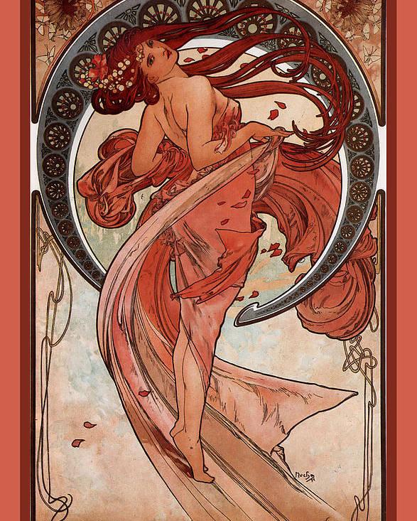Alphonse Maria Mucha Poster featuring the digital art Dance by Alphonse Maria Mucha