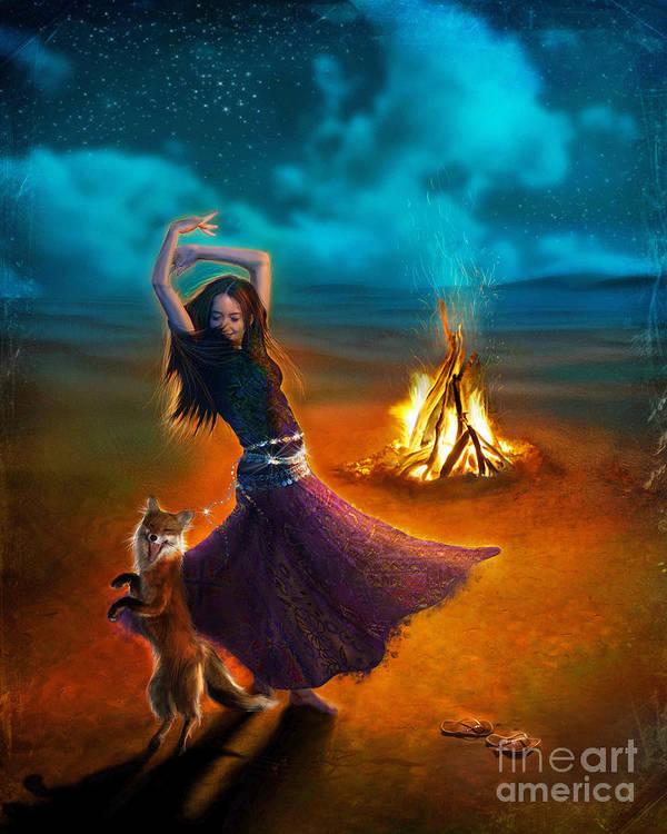Girl Poster featuring the digital art Dance Dervish Fox by Aimee Stewart