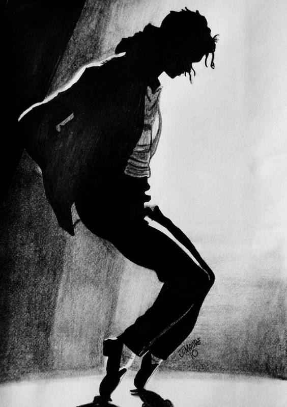 Michael Jackson Dance Tippy Toes Sillouhette Pop Star Music Poster featuring the drawing Dance by Jeremy Moore