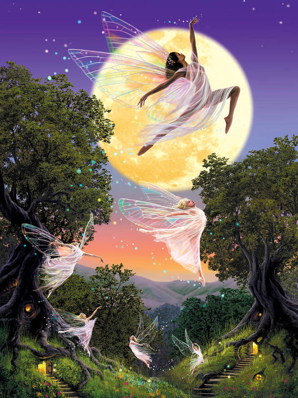 Fairies Poster featuring the photograph Dance Of The Moon Fairy by Garry Walton