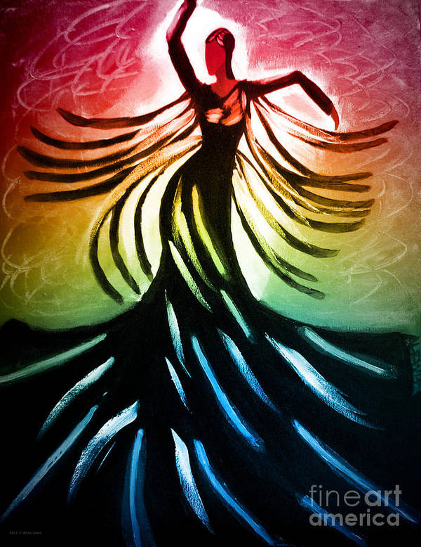 Fine Art Print Poster featuring the painting Dancer 3 by Anita Lewis