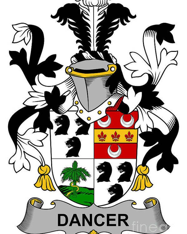 Dancer Poster featuring the digital art Dancer Coat Of Arms Irish by Heraldry