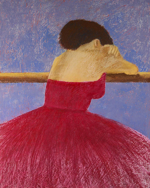 Pastel Poster featuring the painting Dancer In The Red Dress by David Patterson