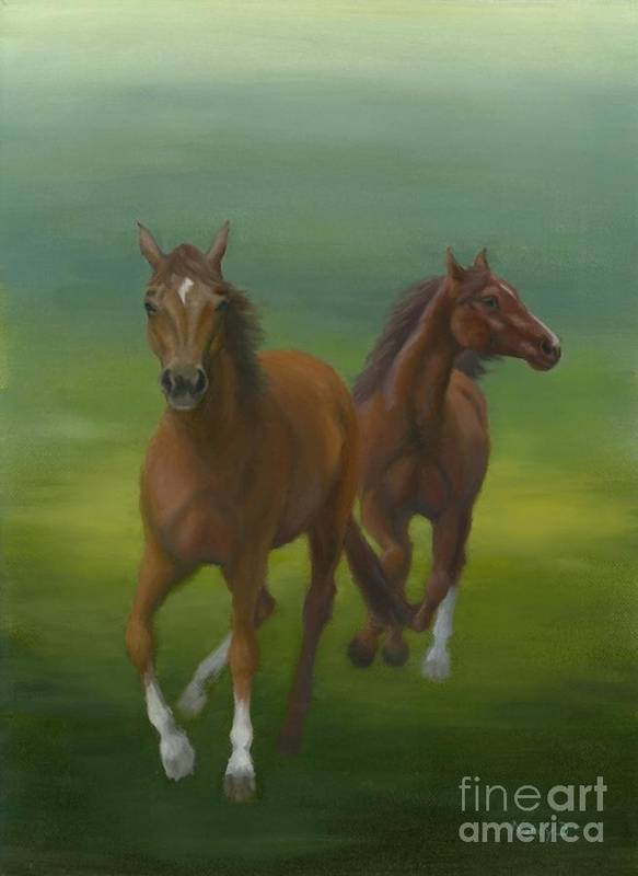 Horses Poster featuring the painting Dancers by Nancy Dunham