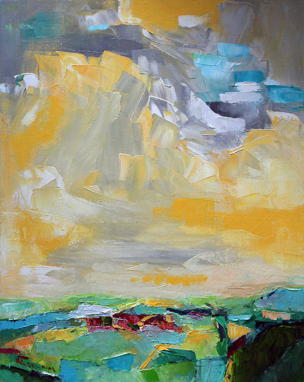 Landscape Poster featuring the painting Dancing Clouds by Becky Kim