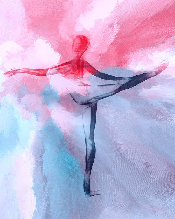 Ballet Ballerina Heaven Cloud Clouds Painting Dancer Dance Dancing Girl Woman Female Color Colorful Expressionism Poster featuring the painting Dancing In Heaven by Steve K