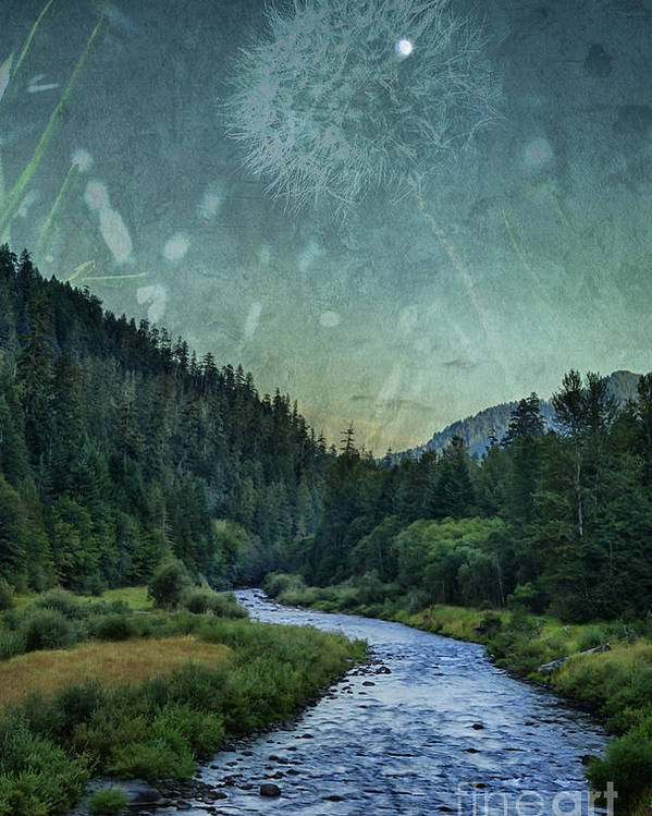 River Poster featuring the photograph Dandelion Moon by Belinda Greb