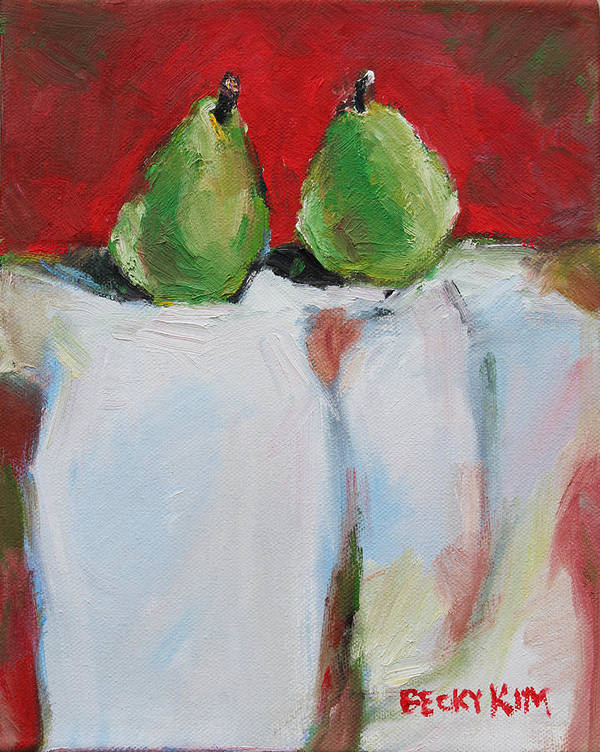 Oil Poster featuring the painting Danjour Pears by Becky Kim