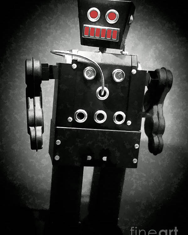 Robot Poster featuring the photograph Dark Metal Robot Oil by Edward Fielding