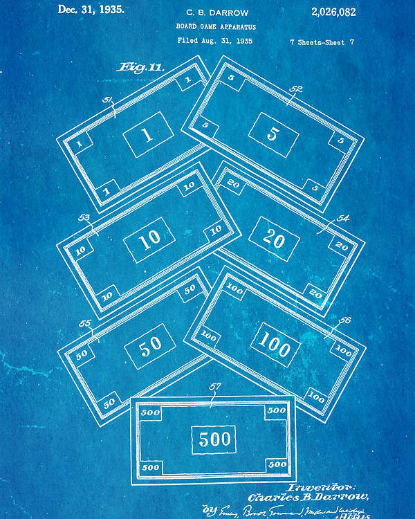 Darrow monopoly board game 2 patent art 1935 blueprint poster by ian famous poster featuring the photograph darrow monopoly board game 2 patent art 1935 blueprint by ian malvernweather Image collections
