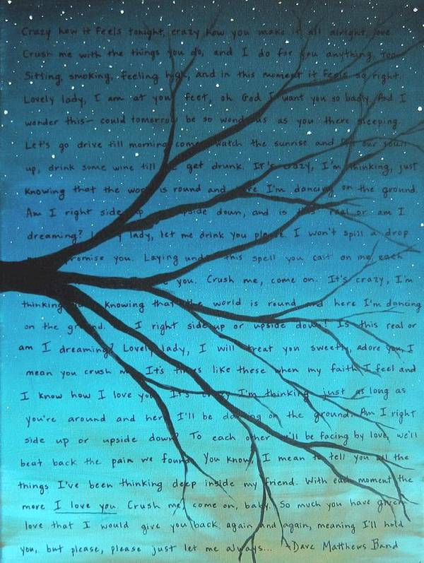 Dave Matthews Band Poster featuring the painting Dave Matthews Band Crush Lyric Art - Blue by Michelle Eshleman