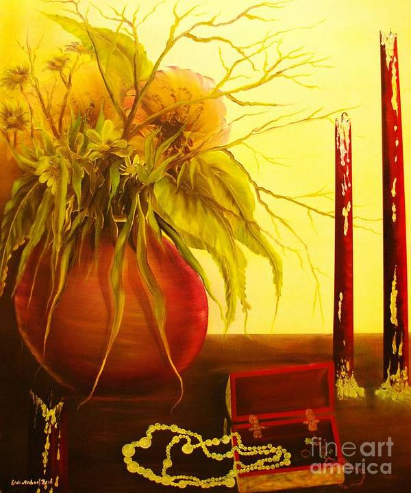 Floral Poster featuring the painting Day After-original Sold-buy Giclee Print Nr 28 Of Limited Edition Of 40 Prints by Eddie Michael Beck