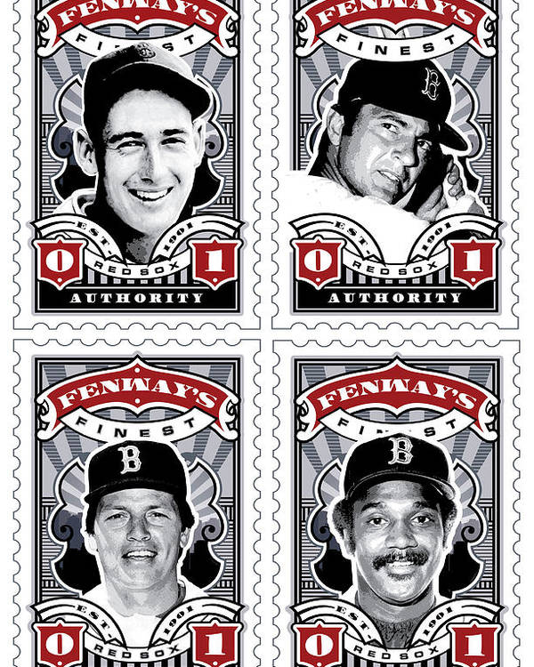 Ted Williams Poster featuring the digital art Dcla Fenway's Finest Combo Stamp Art by David Cook Los Angeles