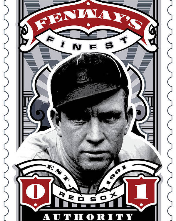 Ted Williams Poster featuring the digital art Dcla Tris Speaker Fenway's Finest Stamp Art by David Cook Los Angeles