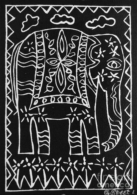 Lino Cut Poster featuring the relief Decorated Elephant by Caroline Street