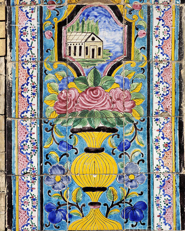 Iran Poster featuring the photograph Decorated Tile Work At The Golestan Palace In Tehran Iran by Robert Preston