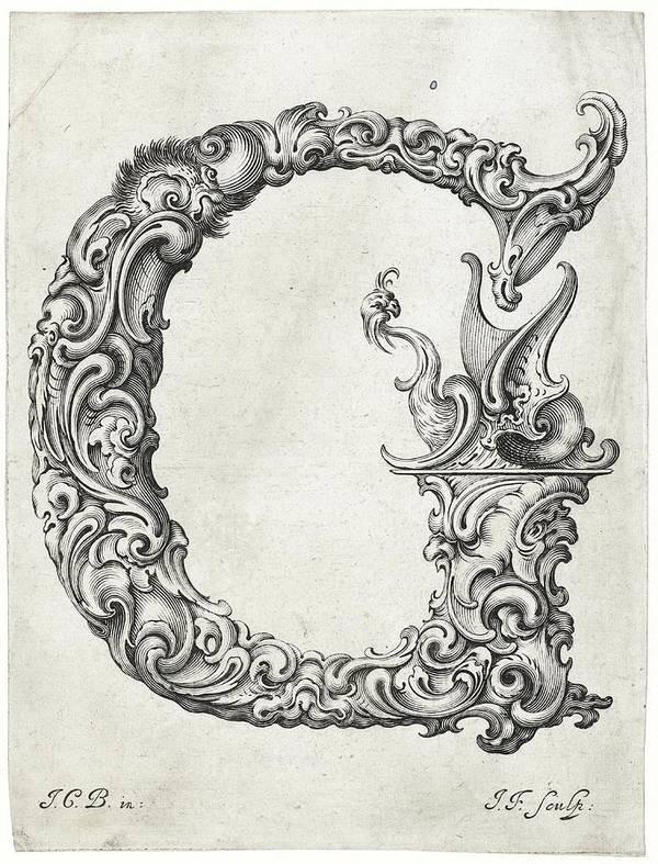 Decorative Letter A.Decorative Letter Type G 1650 Poster
