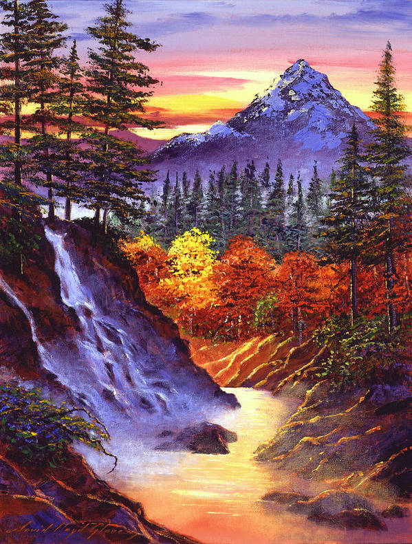 Landscape Poster featuring the painting Deep Canyon Falls by David Lloyd Glover