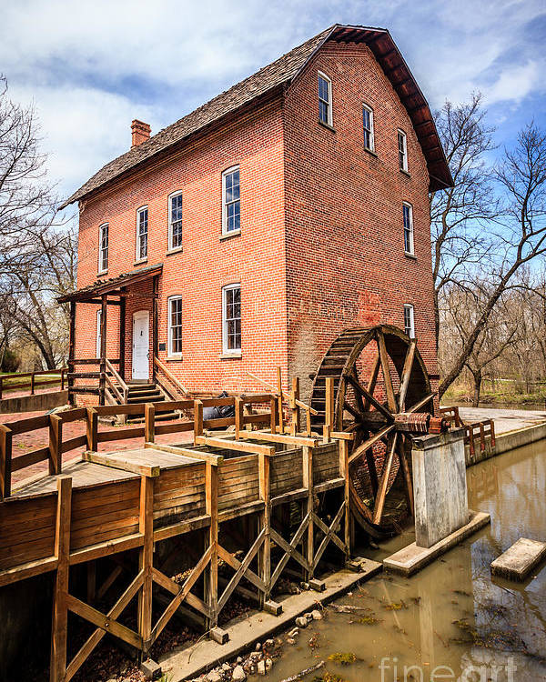 1800's Poster featuring the photograph Deep River Grist Mill In Northwest Indiana by Paul Velgos