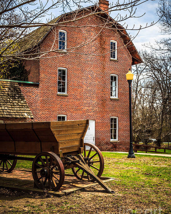 1800's Poster featuring the photograph Deep River Wood's Grist Mill And Wagon by Paul Velgos