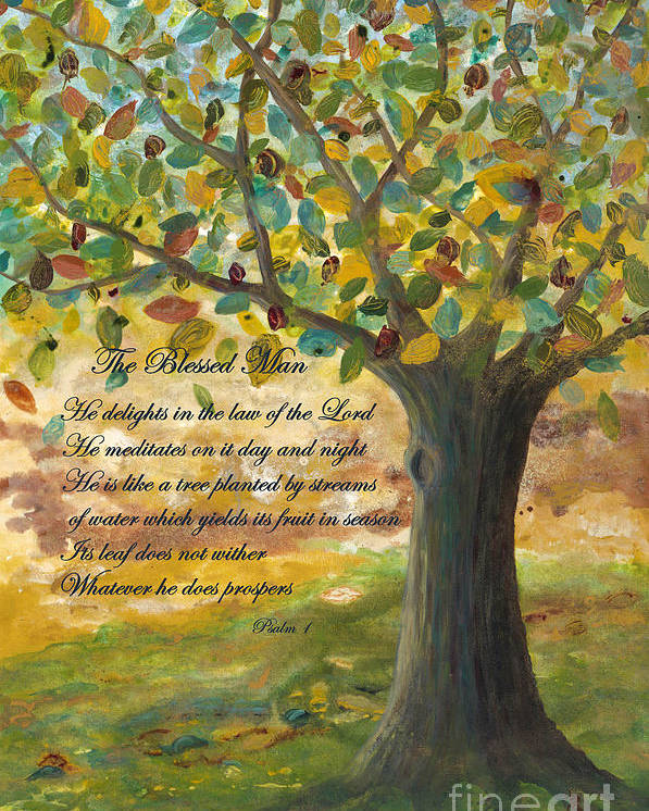 Tree Poster featuring the painting Deep Roots-with Scripture by Mona Elliott