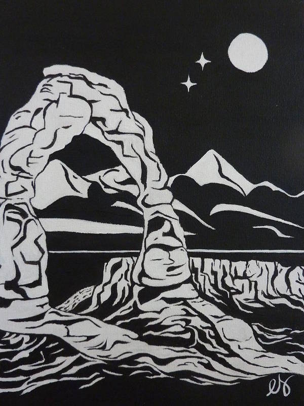 Delicate Poster featuring the painting Delicate Arch By Night by Estephy Sabin Figueroa