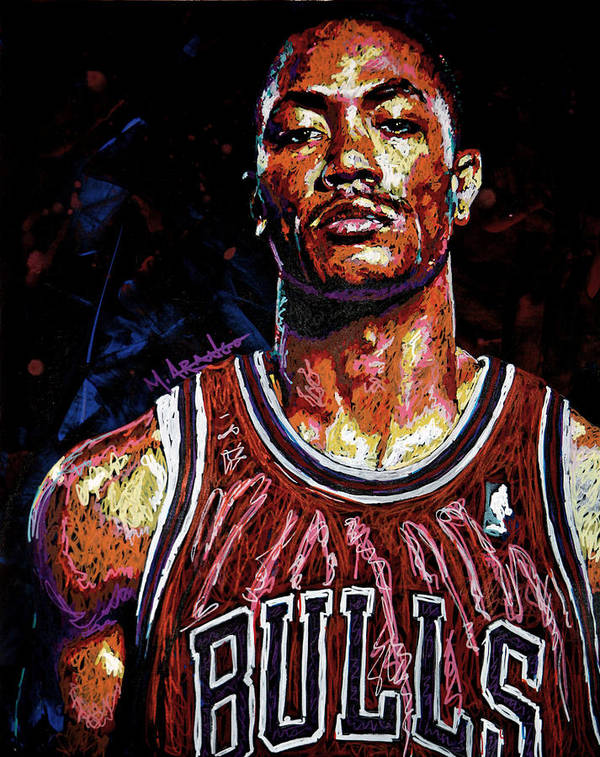 Derrick Rose Poster featuring the painting Derrick Rose-2 by Maria Arango