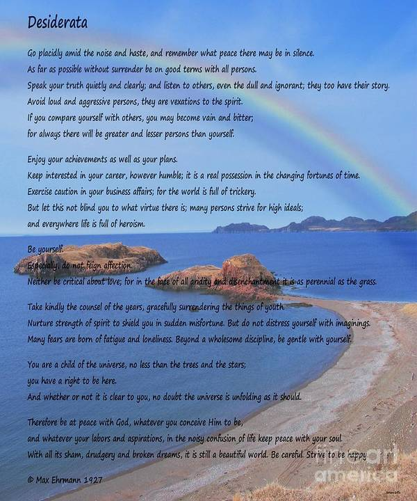Desiderata Poster featuring the photograph Desiderata On Beach Scene With Rainbow by Barbara Griffin