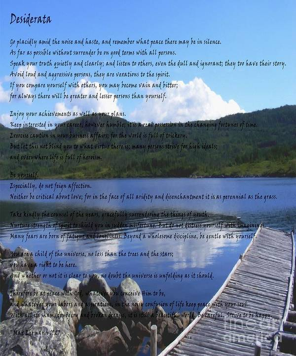 Desiderata Poster featuring the photograph Desiderata On Pond Scene With Mountains by Barbara Griffin