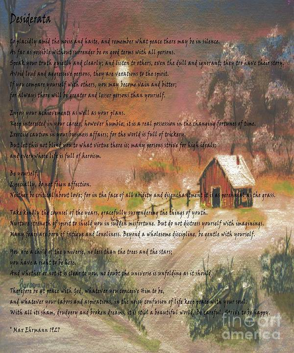 Desiderata Poster featuring the photograph Desiderata On Snow Scene With Cabin by Barbara Griffin