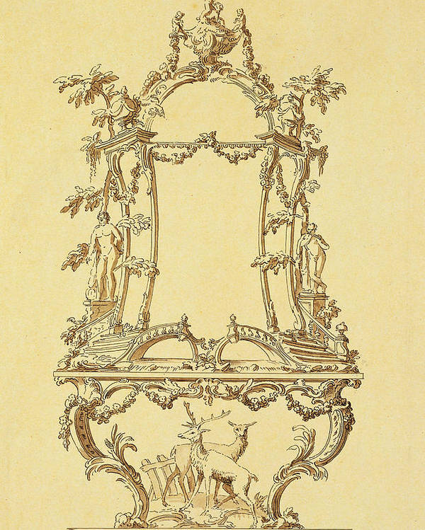 Rococo Poster featuring the painting Design For A Console Table by John Linnell