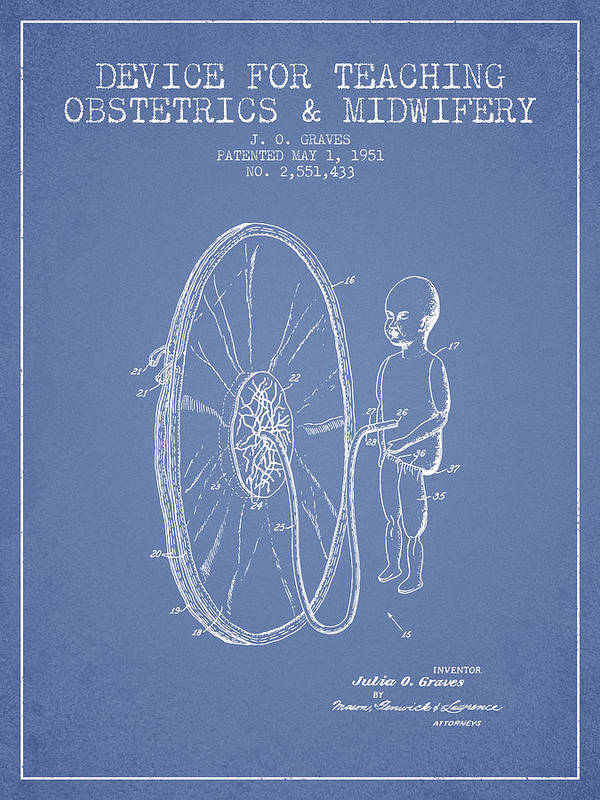 Midwife Poster featuring the drawing Device For Teaching Obstetrics And Midwifery Patent From 1951 - by Aged Pixel