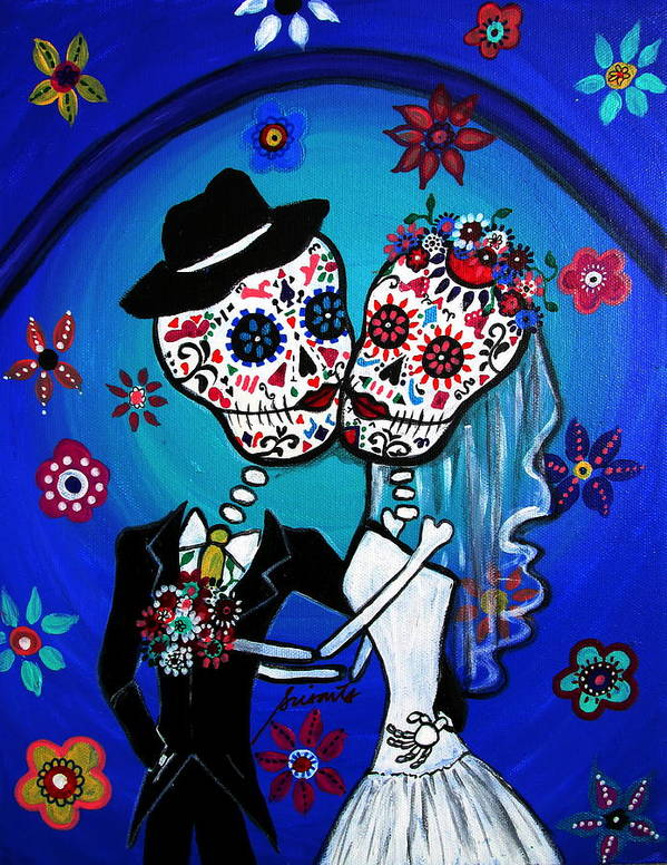 Wedding Poster featuring the painting Dia De Los Muertos Kiss The Bride by Pristine Cartera Turkus