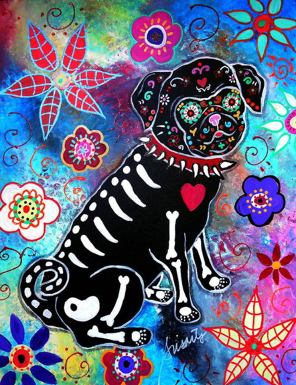 Day Of The Dead Poster featuring the painting Dia De Los Muertos Pug by Pristine Cartera Turkus