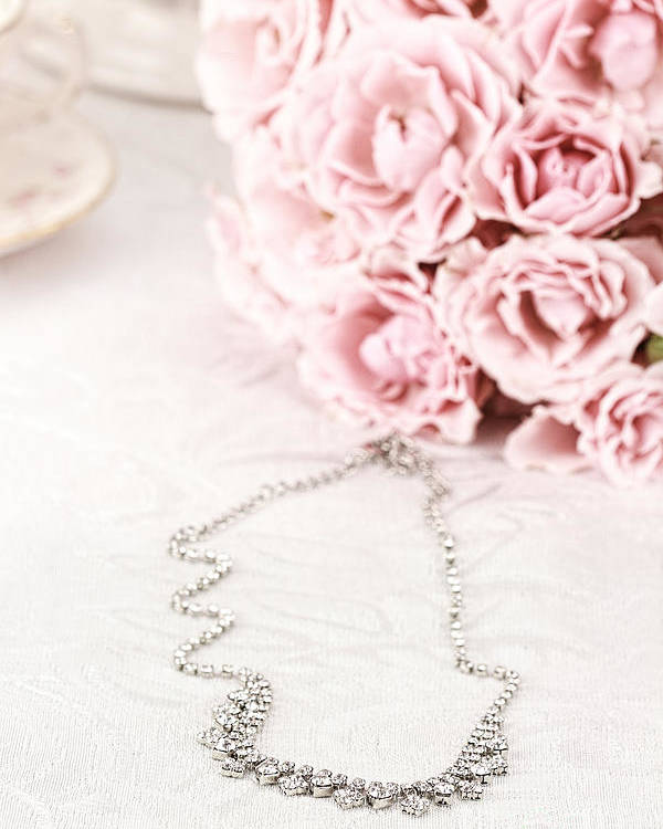 Beautiful Poster featuring the photograph Diamond Necklace And Pink Roses by Stephanie Frey