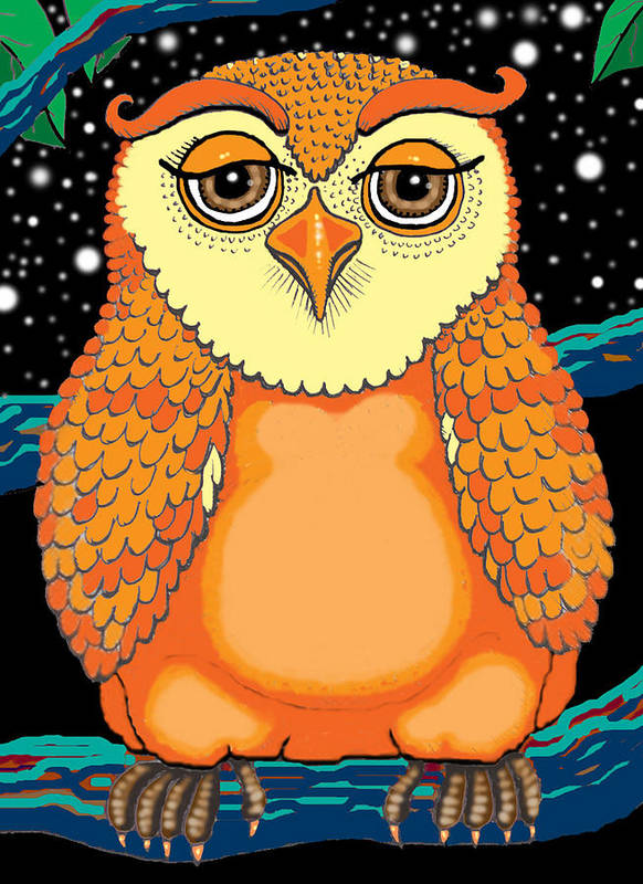 Owl Poster featuring the painting Digiowl by Barbara Stirrup