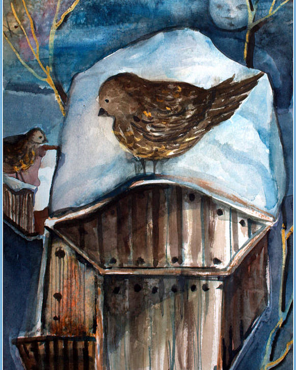 Bird Poster featuring the painting Dining by Moonlight by Mindy Newman