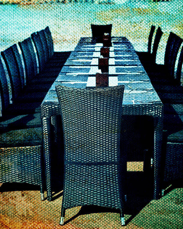 Empty Table Poster featuring the photograph Dinner By The Sea by Georgia Fowler