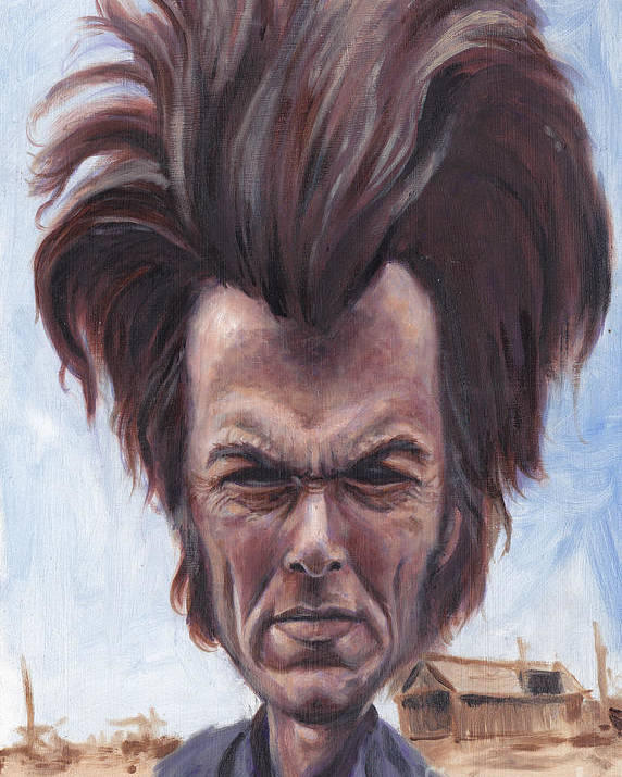 Clint Poster featuring the painting Dirty Hairy by Mark Tavares